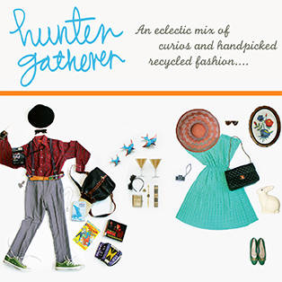 Image of male and female eclectic and vintage clothing with hunter gatherer logo